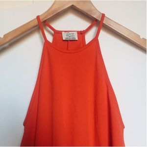 Zara Orange Hued Red A-line Swing Dress - Small